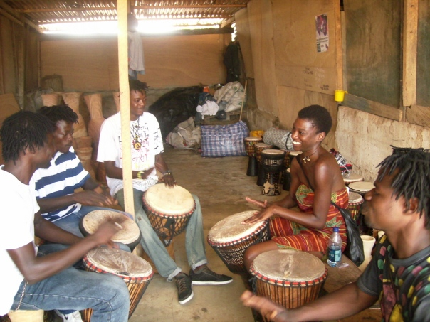 African drumming at the Ghana Cultural Center in Accra