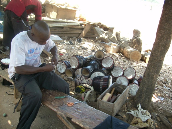 Drum Maker at the Cultural Center in Accra