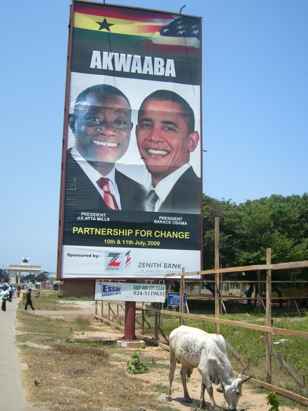 Ghanaian President Atta Mills and Obama billboard on a roadside